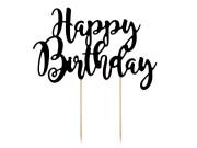 Ozdoba na dort Happy Birthday - černá, 22,5 cm