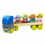 Kamion s auty - dřevěná skládačka Cubika