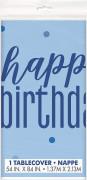 "Ubrus plastový ,,Happy birthday"" modrý s tečkami 137x213 cm"