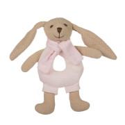 Zajíček Bunny s chrastítkem růžový