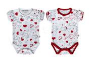 Bavlněné body krátký rukáv Srdíčka Baby Service