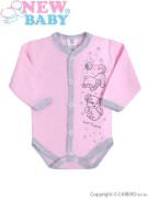 Kojenecké body s dlouhým rukávem celorozepínací New Baby Kamarádi růžové
