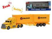 Auto nákladní 1:50 36 cm na setrvačník na baterie se světlem a zvukem