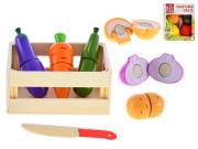 Košík dřevěný s krájecím ovocem/zeleninou 11-13 dílků
