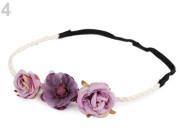 Pružná čelenka do vlasů s květy fialová