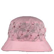 Dívčí letní plátěný klobouk Květy s kamínky RDX