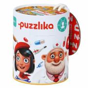 Naučné puzzle 21 dílů Puzzlika - Profese 1 (lékař, řemeslník, malířka)