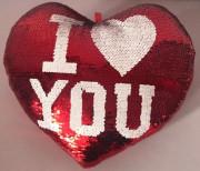 Polštář srdce s flitry 30 cm