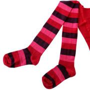 Dětské punčocháče Design Socks vel. 3 (2-3 roky) Růžovo-červené proužkované