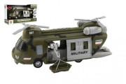 Helikoptéra vojenská plastová 28 cm na baterie se světlem a zvukem