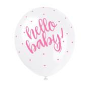 "Balónek pastel 30 cm potisk ""Hello baby"" růžový 5 ks"