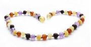 Jantarové korálky multicolor pro děti proti bolesti ametyst