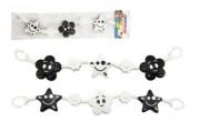 Řetěz/zábrana černobílá kytička a hvězdička 45 cm