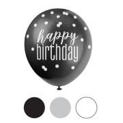 Balónek pastel 30 cm potisk - Happy birthday tmavý mix, 6 ks