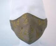 Látková respirační rouška - maska dámská jednovrstvá Vánoční zlaté stromečky