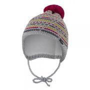 Čepice pletená zavazovací čárky Outlast® Šedorůžovožlutá