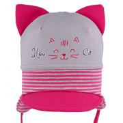 Dívčí vázací čepice s oušky a kšiltem Kočka RDX