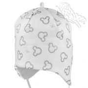 Dívčí kojenecká čepice vázací Miky bílo-stříbrná RDX