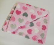 Dětská deka Wellsoft 76 x 92 cm Srdíčka růžová Pidilidi