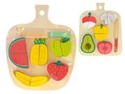 Deska dřevěná 22x18cm s krájecím ovocem/zeleninou 12částí