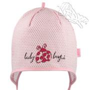 Dívčí kojenecká zavazovací čepice Beruška Růžová RDX