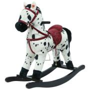 Kůň houpací bíločerný plyš na baterie se zvukem a pohybem nosnost 50kg