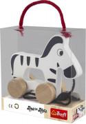 Zebra na kolečkách a s provázkem dřevěná Wooden Toys 12 m+