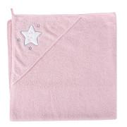 Froté ručník s aplikací a kapuckou 100 x 100 cm - HVĚZDY RŮŽOVÁ