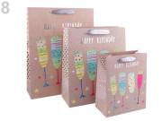 Dárková taška velká Happy Birthday skleničky 40 x 30 x 12cm