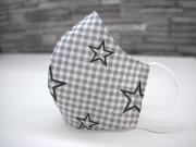 Látková respirační rouška - pro děti 7 - 12 let hvězdy na kárech šedé jednovrstvá