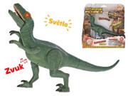 Dinosaurus Velociraptor 24 cm na baterie se světlem a zvukem