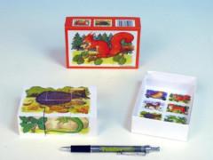 Dřevěné kostky lesní zvířátka 6 ks