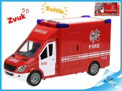 Auto hasiči 27cm na setrvačník na baterie se světlem a zvukem