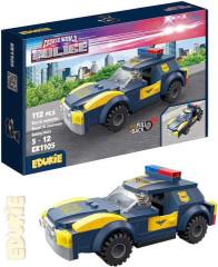 EDUKIE stavebnice policejní auto na zpětný chod 112 ks + 1 figurka