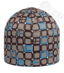 Zimní čepice čtverečky tyrkysové šedá RDX