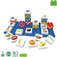 BiOBUDDi stavebnice Learning Food Young Ones ovoce 26 ks + 1 ks základní deska 18 m+