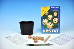 Kostky cestovní společenská hra + kalíšek dřevo v krabičce