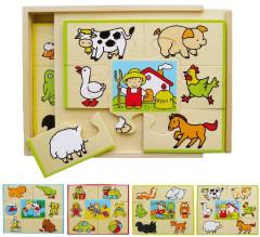 Dřevěné puzzle set 4 ks-krabička