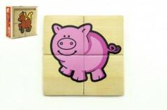Puzzle 4ks pro nejmenší dřevo Moje první zvířátka v dřevěné krabičce