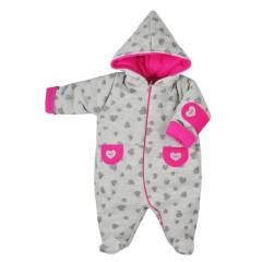 Zimní kojenecká kombinéza Koala Nelly šedo-růžová