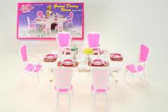 Glorie Jídelní stůl s doplňky - 6 židlí pro panenky