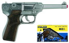 Policejní pistole stříbrná kovová 8 ran