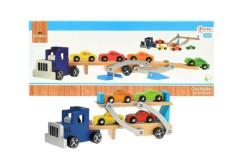 Dřevěné auto přepravník + auta 4ks 55cm