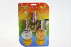 Medaile - zlatá,stříbrná a bronzová