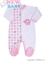 Kojenecký overal New Baby Sloník bílo-růžový