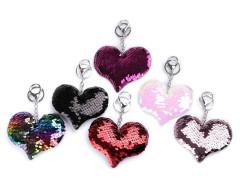 Přívěsek na kabelku / klíče srdce s měnícími flitry
