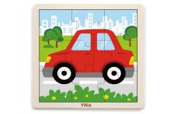 Dřevěné puzzle - autíčko 9 dílů Viga