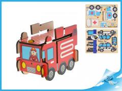 Puzzle dřevěné skládací záchranářská auta