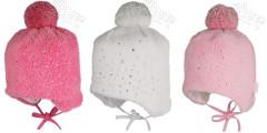 Zimní dívčí zavazovací čepice s kamínky a bambulí vel. 0 (38-40cm)