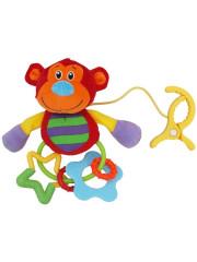 Plyšová hračka s chrastítkem opička - závěsná hračka